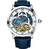 Stührling Original Automatic Watch for Men Skeleton Watch Dial, Dual Time, AM/PM Sun Moon, Leather Band, 571 Mens Watches Series (Silver-A)