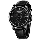 MASTOPAutomatic Mechanical Men Wristwatch Battery Less Self Winding Luxury Dress Wristwatch Leather Waterproof Stainless Steel Case Classic Casual Mechanical Wristwatch (Black)