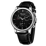MASTOPAutomatic Mechanical Men Wristwatch Battery Less Self Winding Luxury Dress Wristwatch Leather Waterproof Stainless Steel Case Classic Casual Mechanical Wristwatch (Silver Black)