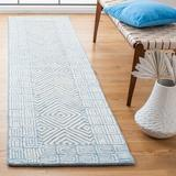 Safavieh Roslyn Geometric Handmade Tufted Wool Light Blue/Ivory Area Rug Wool in White, Size 27.0 W x 0.28 D in | Wayfair ROS353M-29