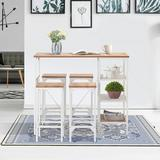 Red Barrel Studio® Gorg 5 - Piece Counter Height Dining Set Wood/Metal in White, Size 35.8 H x 43.3 W x 23.6 D in | Wayfair
