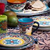 Bungalow Rose Skipton Floral Patterned 14 oz. Coffee Mug Ceramic/Earthenware & Stoneware in Blue/Brown, Size 4.1 H x 5.3 W in | Wayfair