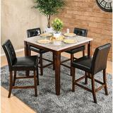 Red Barrel Studio® Marva 5 - Piece Counter Height Dining SetWood/Upholstered Chairs in Brown, Size 35.5 H x 42.0 W x 42.0 D in | Wayfair
