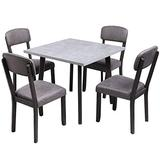 Merax 5 Pieces Dining Set Wooden Table and Chairs for 4, Perfect for Kitchen, Dinning Room and Bar, Grey