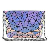 Felice Women Small Geometric Pattern Holographic Crossbody Bag Chain Strap Shoulder Bag Purse