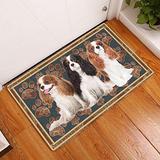 Bestcustom Cavalier King Charles Spaniel Flower Paw Indoor and Outdoor Doormat Warm House Gift Welcome Mat Gift for Dog Lovers Birthday Gift (Indoor & Outdoor Doormat 30x18)