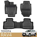 3 Piece Set Floor Mats Compatible with 2019 2020 2021 Toyota RAV4 TPE All Weather Waterproof Protection Floor Mats Liners Black 1st & 2nd Row