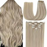 "LaaVoo Highlights Extensions Clip in, Real Hair Extensions Clip in Human Hair Golden Blonde Mixed Medium Blonde Real Hair Clip in Extensions Human Hair Full Head 20"" 5pcs/70g"