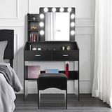 LED Vanity Table Set with Lights and Mirror, Makeup Vanity Desk Girls with Drawers & Bench, Modern Bedroom Girls Womens Dressing Table with Cushioned Stool, Vanities & Vanity Benches (Black)
