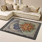 Sun Moon & Stars Area Rugs Non-Skid (Non-Slip) Floor Rug Carpet Soft Cozy Washable Accent Rug Yoga Mat for Indoor Living Dining Room Playroom and Bedroom Area 63 x 48 inch