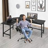 """L-Shaped Desk Corner Computer Office Desk Game Table with CPU Stand Cart, Large Space Home Office Desk Writing Desk PC Laptop Study Table Home Workstation Wood & Metal, 55""""+37"""", Black"""