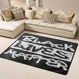 Black Lives Matter Graffiti Area Rugs Non-Skid (Non-Slip) Floor Rug Carpet Soft Cozy Washable Accent Rug Yoga Mat for Indoor Living Dining Room Playroom and Bedroom Area 63 x 48 inch