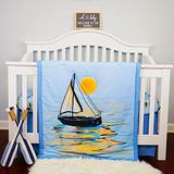 ARTROOMSHOW, Premium 100% Organic Cotton 4piece Nautical Crib Bedding Set for Baby Boys. Includes: Crib Skirt, Two Crib Sheets and a Comforter.