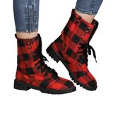 Heli Women's Casual boots Red - Red Buffalo Plaid Combat Boot - Women