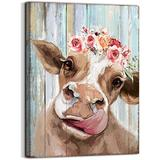 Country Farmhouse canvas printing Rustic Bedroom Decor retro style cow Vintage Wall Art for Dining Room Decor for the Home Cattle Decorate Canvas Print Placed in Home Bathroom Office Study fireplace kitchen Bedroom wall art rustic style retro funny cow...