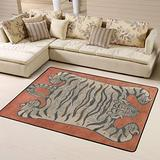 Tibetan Tiger Orange Area Rugs Non-Skid (Non-Slip) Floor Rug Carpet Soft Cozy Washable Accent Rug Yoga Mat for Indoor Living Dining Room Playroom and Bedroom Area 63 x 48 inch