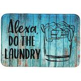 Occdesign Soft & Thick Laundry Room Rug Floor Mat -Alexa, Do The Laundry Rustic Wood -Farmhouse Decorative Indoor Floor Mat for Washroom, Laundry Room -24X16 inches