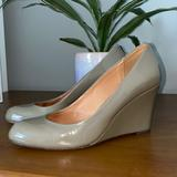 Coach Shoes | Coach Wedge Patent Leather Heels Taupe | Color: Cream/Tan | Size: 7