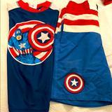 Disney Swim | Capt America Swimsuit And Rashguard Boy Size 78 | Color: Blue/Red | Size: 78