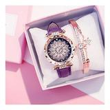 Ladies Fashion Leather Casual Watch Luxury Analog Quartz Crystal Watch Fashion Casual Ladies Watch (Color : Purple)