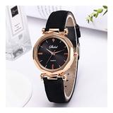 Ladies Fashion Leather Casual Watch Luxury Analog Quartz Crystal Watch Fashion Casual Ladies Watch (Color : Black)