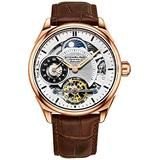 Stuhrling Mens Automatic Dress Watch Stainless Steel with Automatic Skeleton Mechanical Movement with Duel Time Sub-Dial and AM/PM Indicator and Adjustable Stainless Steel Link Bracelet (Rose Brown)