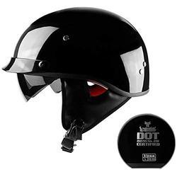 Motorradhelm Helm Halbschale - Braincap DOT Genehmigt Roller Scooter Helm Jethelm Motorradhelm Offenes Gesicht Jethelme Retro Vintage Style Für Damen Und Herren Black 2,M