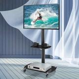 """Ceballos Multiple Media Devices Swivel Floor Stand Mount for 47"""" - 50"""" Screens w/ Shelving, Holds up to 88 lbs in Black   Wayfair zz-W24105040"""