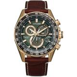 Chronograph Pcat Brown Leather Strap Watch 43mm - Metallic - Citizen Watches