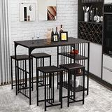 5-Piece Dining Table Set Counter Height Dining Set with 3-Tier Storage Shelf and 4 Dining Stools for Kitchen and Dining Room, Espresso