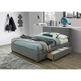 """Modern Fabric & Wood 60"""" Queen Platform Bed W/Drawers in Light Grey"""