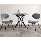 CIMOTA Grey Upholstered Dining Chairs Velvet Accent Chairs Set of 2 Dining Room Chairs Distressed Fabric Side Chair for Living Room/Reception Room/Bedroom