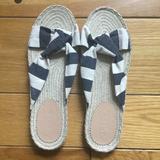 J. Crew Shoes | J. Crew Canvas Striped Espadrille Sandals | Color: Blue/Cream | Size: 9.5