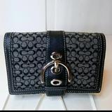 Coach Bags | Coach Logo Wallet Bi-Fold Black & Grey | Color: Black/Gray | Size: 4 X 5.5