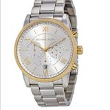 Michael Kors Accessories   Mk Chronograph Silver Dial Stainless Steel   Color: Gold/Silver/Tan   Size: Os
