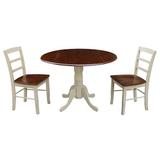 Charlton Home® Highsmith 3 - Piece Drop Leaf Rubberwood Solid Wood Dining SetWood in White, Size 30.0 H in | Wayfair