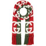 Green And Red Wool Logo Scarf - Green - Gucci Scarves