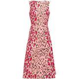 + Rose Cumming Flared Leopard-print Stretch-cotton Midi Dress - Red - Carolina Herrera Dresses