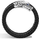 Sterling Silver Legends Naga Double Coil Bracelet With Braided Black Leather & Sapphire Eyes - Black - John Hardy Bracelets