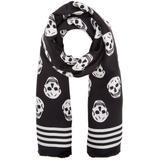 Mini Skull Print Scarf - Black - Alexander McQueen Scarves