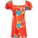 Floral-print Stretch-satin Mini Dress Tomato Red - Red - De La Vali Dresses