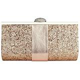 Women Sequin Rhinestone Metal Satin Clutch Bag with Chain Sparkly Bridal Clutch Purse with Chain for Cocktail Party (Champagne)