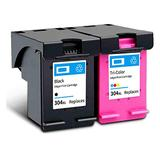 304XL Ink Cartridge, Compatible for HP 3720 3730 Inkjet Printer With Chip, 1 Black Ink Cartridge and 1 Tri-color Ink Cartridge, 600 Pages