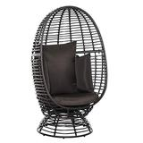 Outsunny Outdoor Egg Chair, Rattan Wicker 360 Degree Swivel Basket Chair with Cushion, Brown
