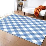 PartyShow Large Modern Rectangle Area Rugs 2'×3', Spring Easter Buffalo Checker Filling Surface Felt Carpet Pad for Living Room Bedroom Entryway Wood and Tile Floors, Floor Rugs with Plaid Blue White