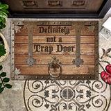 Bestcustom Definitely Not A Trap Door Indoor and Outdoor Doormat Warm House Gift Welcome Mat Gift for Friend Men Women Funny Gift Birthday Gift (Indoor & Outdoor Doormat 24x16)