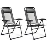 Giantex Set of 2 Patio Dining Chairs, Folding Lounge Chairs with 7 Level Adjustable Backrest, Headrest, 300 Lbs Capacity, Outdoor Portable Chairs with Metal Frame (2, Gray)
