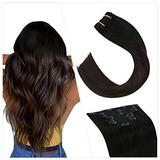Ugeat 22 Inch Clip in Hair Extensions Human Hair Remy Hair Extensions Clip in Human Hair Balayage #1B/4/1B Real Human Hair Clip in Extensions 7PCS Full Head Clip in Hair Extensions