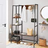 BackH Coat Rack Shoe Bench, Entryway Hall Tree with 4 Tier Shelves, Storage bench and Hooks, Rustic Style, Industrial Storage Shelves, Wood Accent Furniture(Walnut)