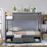 Homy Grigio Bunk Bed Wood Twin Over Twin Bunk Bed Kids Bed Bedroom with Guard Rail and Ladder(Gray)